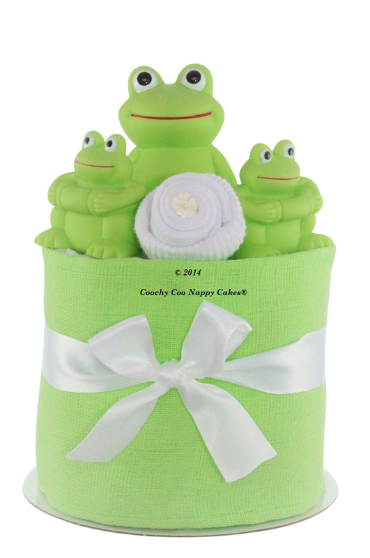 Baby frog bath toy nappy cake