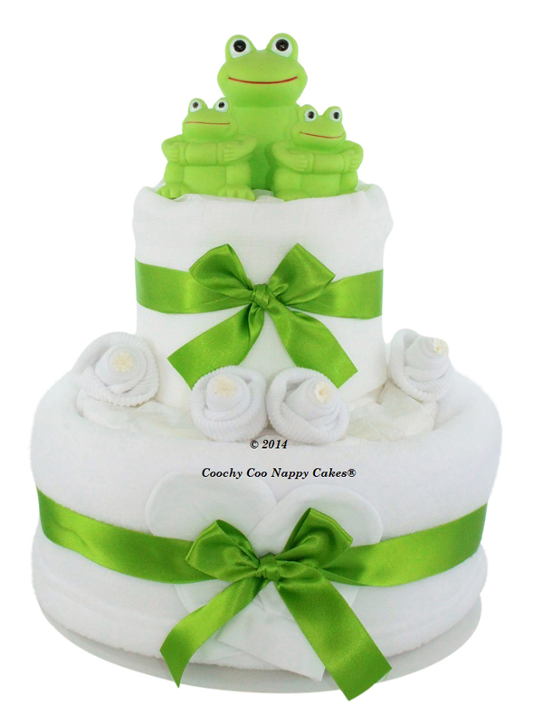 Baby Bath frog nappy cake (two tier)