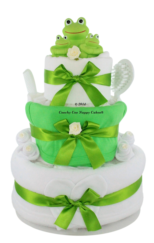 Baby Bath frog nappy cake (three tier)