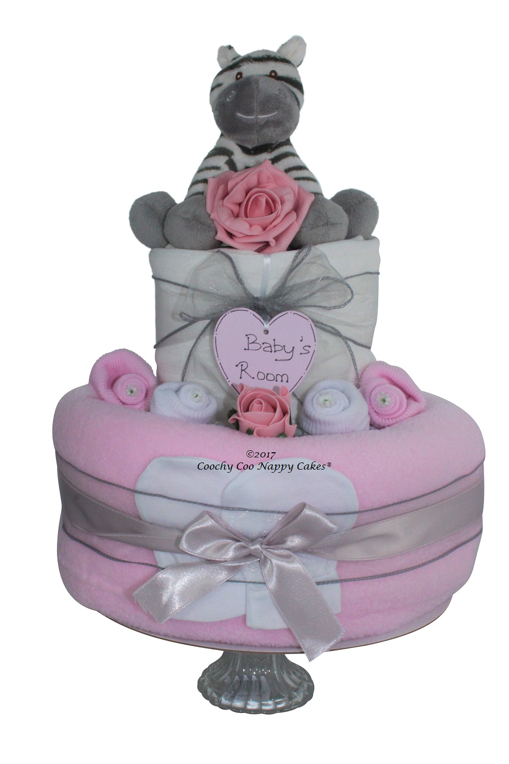 Baby Gift Cakes Uk : Two tier pink baby girls zebra nappy cake gift coochy