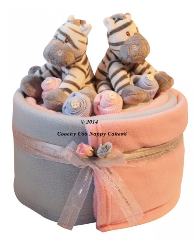 Baby Gift Ideas Twins : Large single tier twin baby boy girl nappy cake gift
