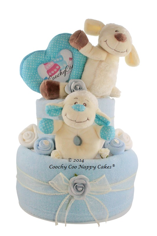 Baby girl gifts coochycoo nappy cakes baby boy nappy cake lambs negle Image collections