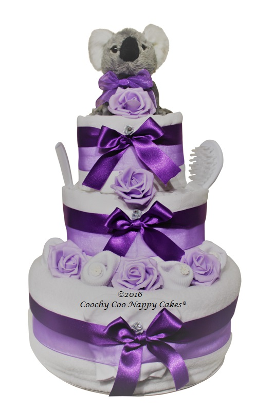 3 tier koala nappy cake