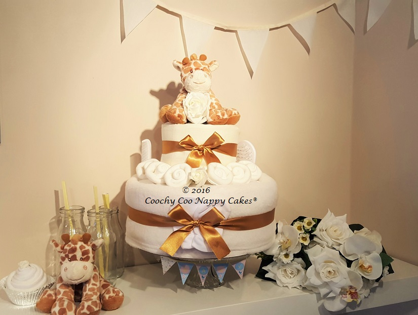 Unisex Two Tier Giraffe Nappy Cake Baby Gift Coochy Coo