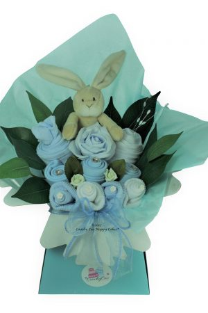 Boys blue baby shower bouquet with toy