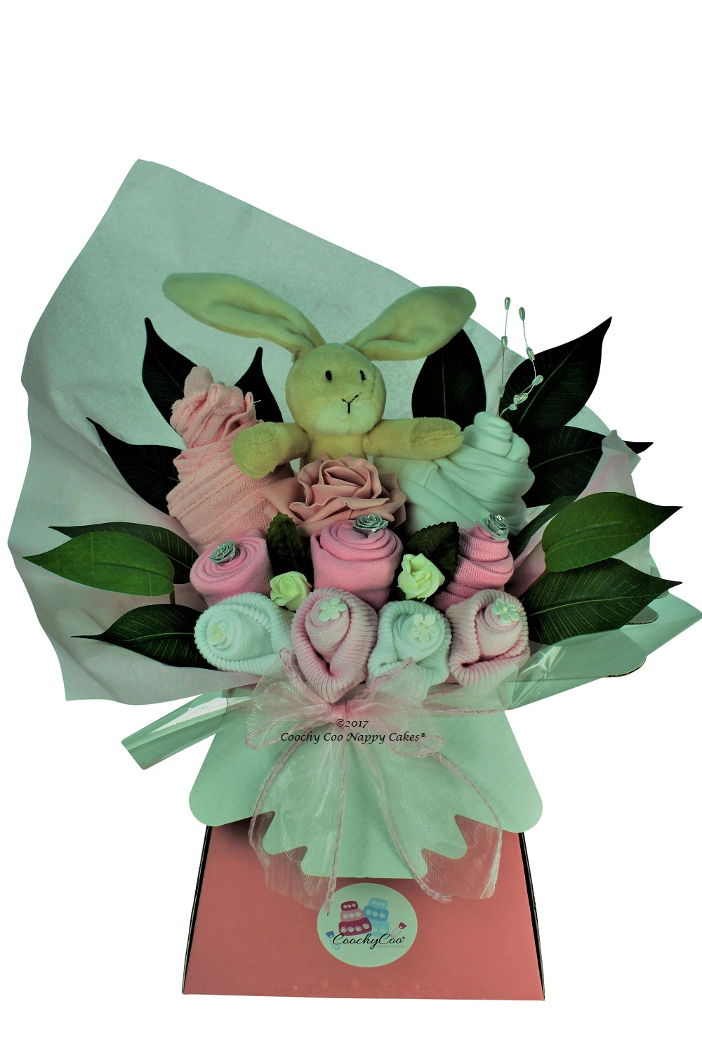 pink baby girls clothes bouquet flowers
