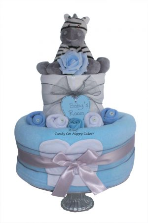 Zebra Baby boy 2 tier nappy cake