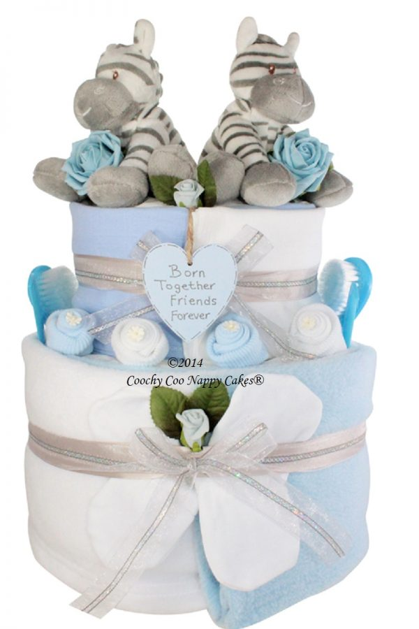 twin baby boy nappy cake gift