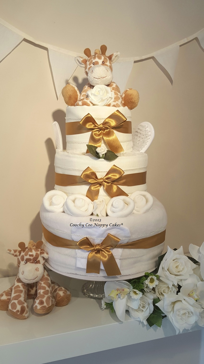 Three Tier Unisex Giraffe Nappy Cake Baby Gift