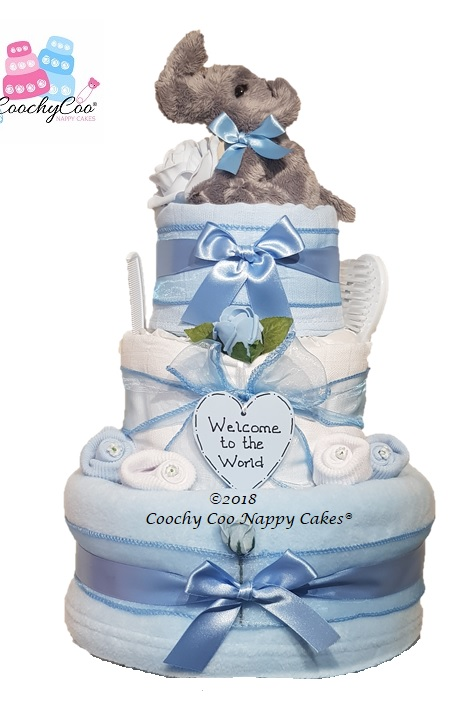 3 tier boys elephant nappy cake