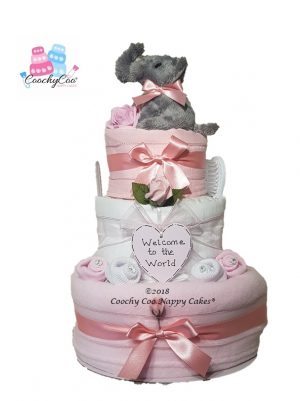 3 tier girls elephant nappy cake