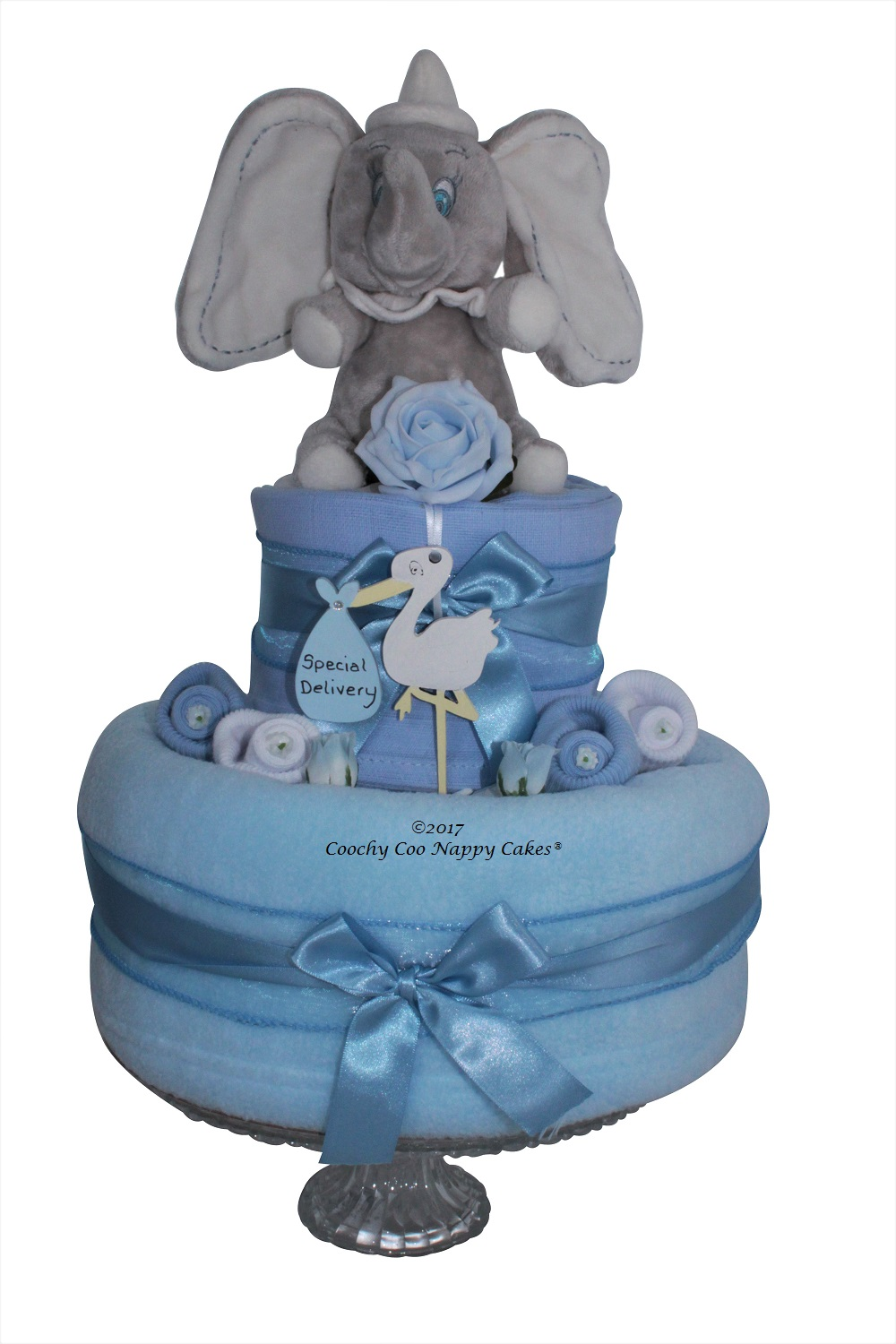 dumbo baby boy 2 tier nappy cake