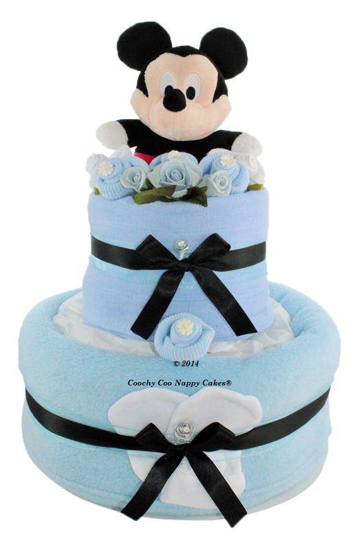 Blue Baby Boy Mickey Mouse nappy cake baby shower gift