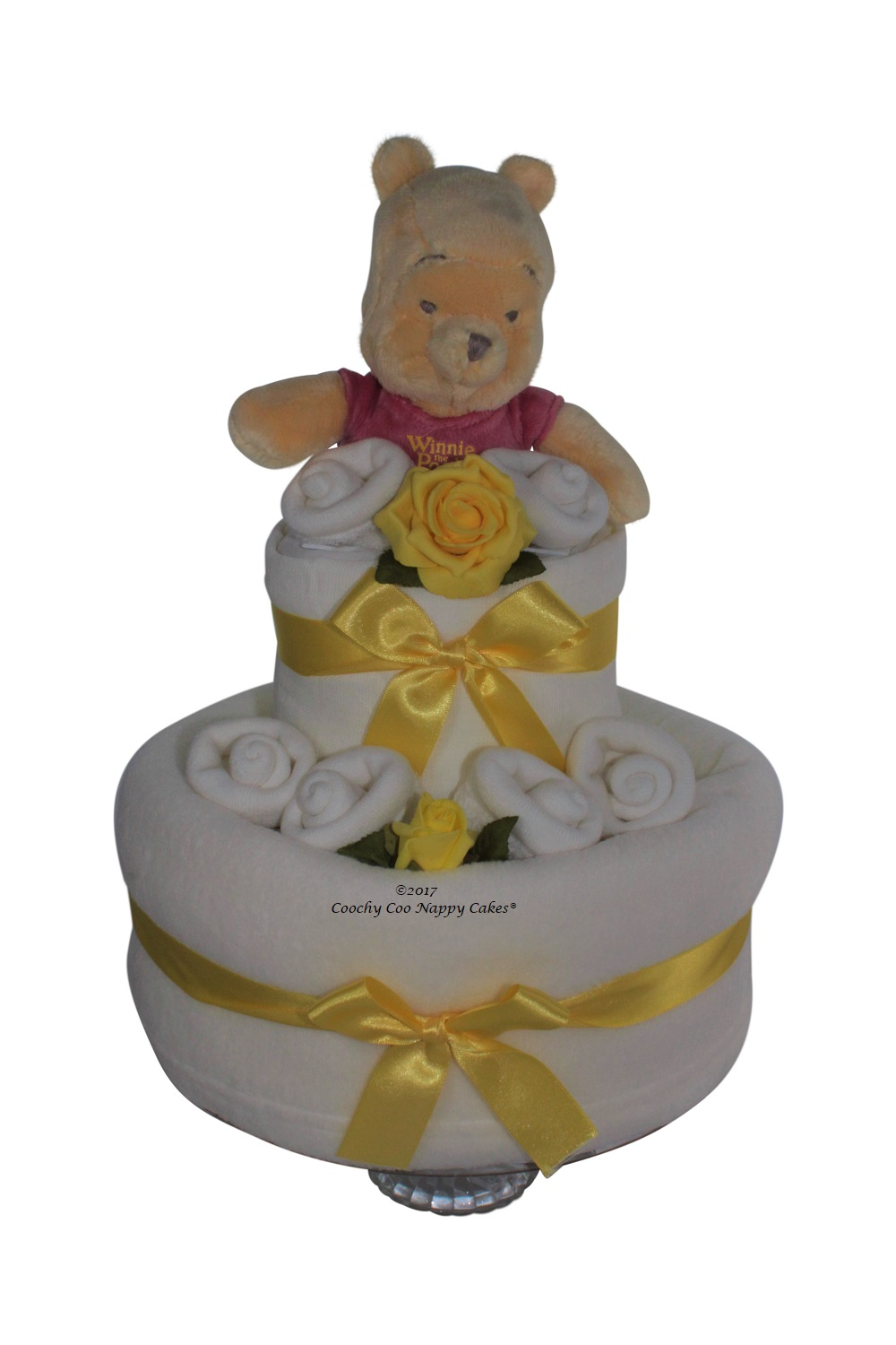 Unisex baby shower nappy cake hamper gift coochy coo nappy cakes winnie the pooh nappy cake negle Images
