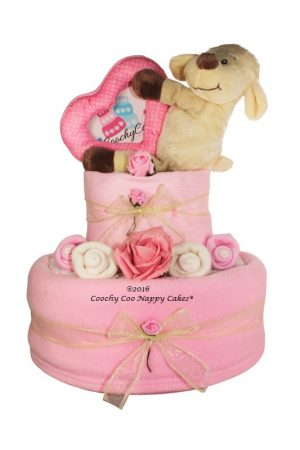 lamb baby girl nappy cake