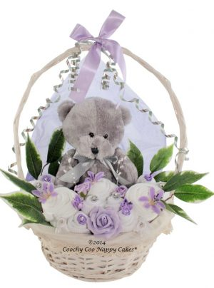 Unisex Teddy bear gift basket with baby clothes