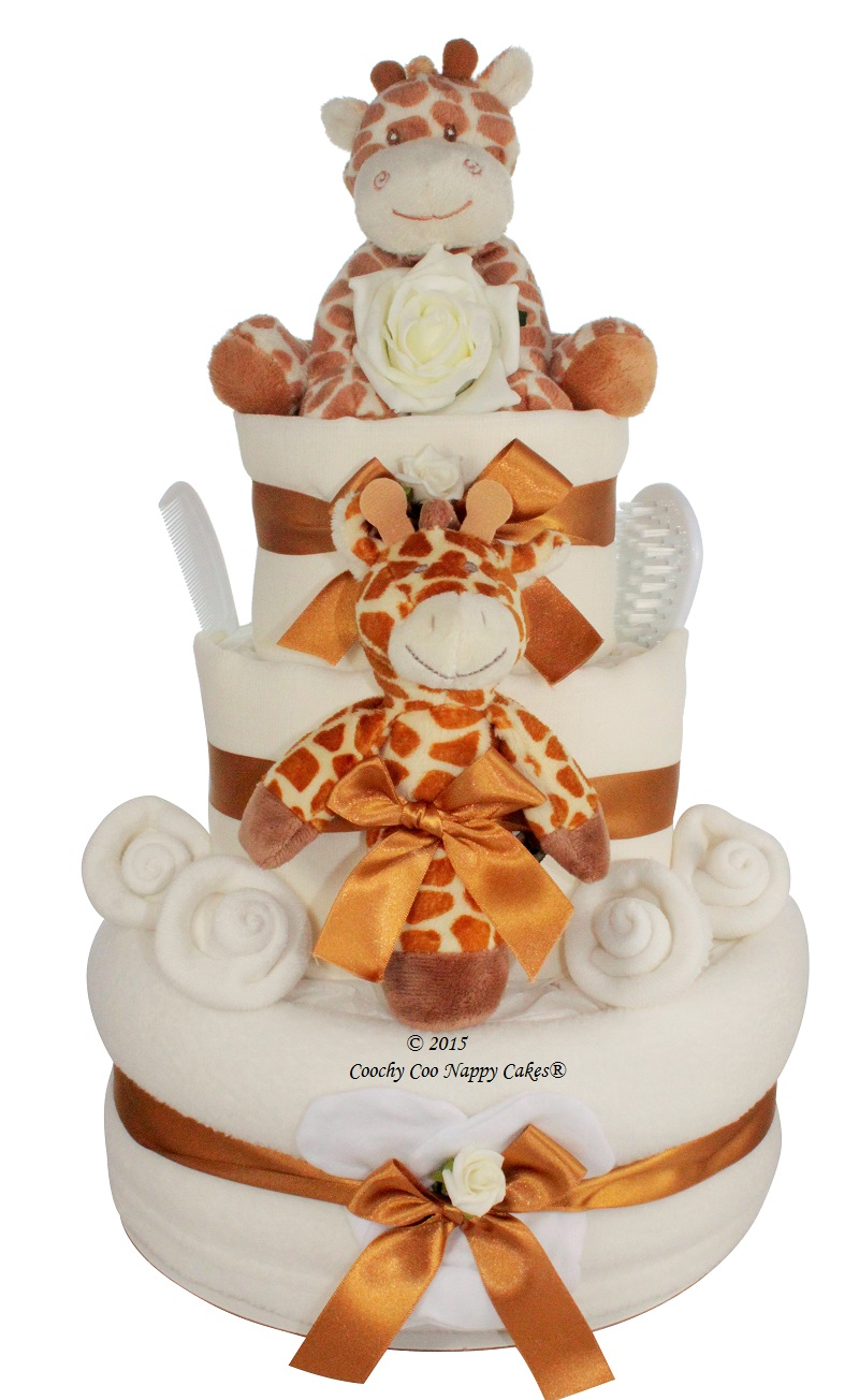 luxury giraffe nappy cake