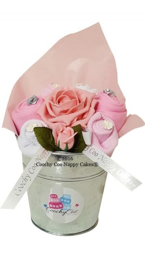 pink baby clothes bouquet