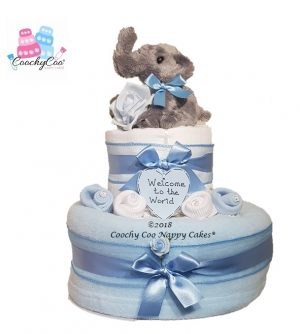 2 tier Baby Boy Elephant Nappy Cake Baby Hamper