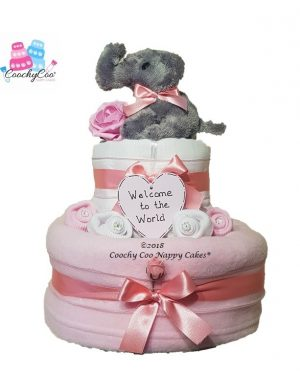 2 tier girls elephant nappy cake