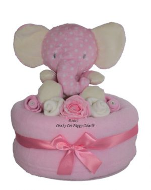 Girls elephant large nappy cake Baby Hamper