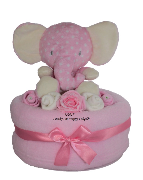 Girls elephant large nappy cake