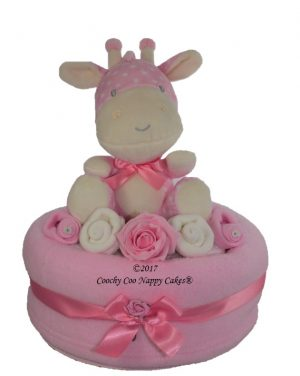 Large Girls Giraffe nappy cake