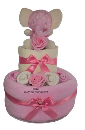 Girls elephant 2 tier nappy cake