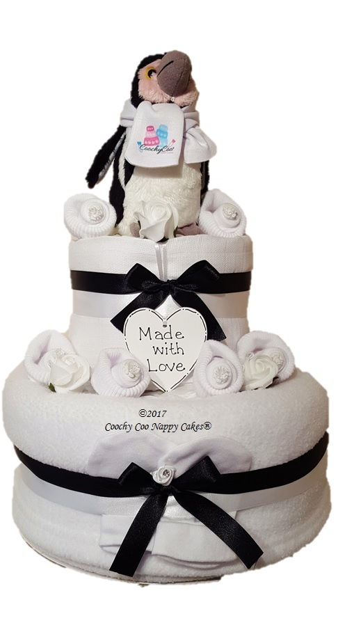 Penguin 2 tier baby nappy cake Baby Hamper