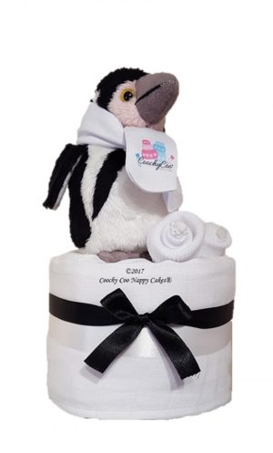 mini penguin nappy cake