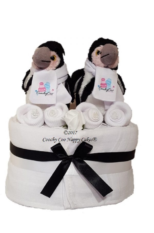 Penguins Twins Mini Nappy Cake