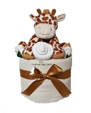 mini giraffe nappy cake