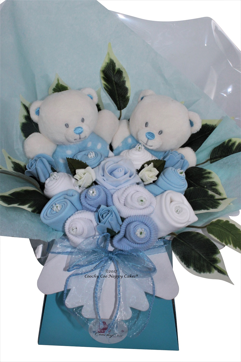 Twin baby boy clothes bouquet close up