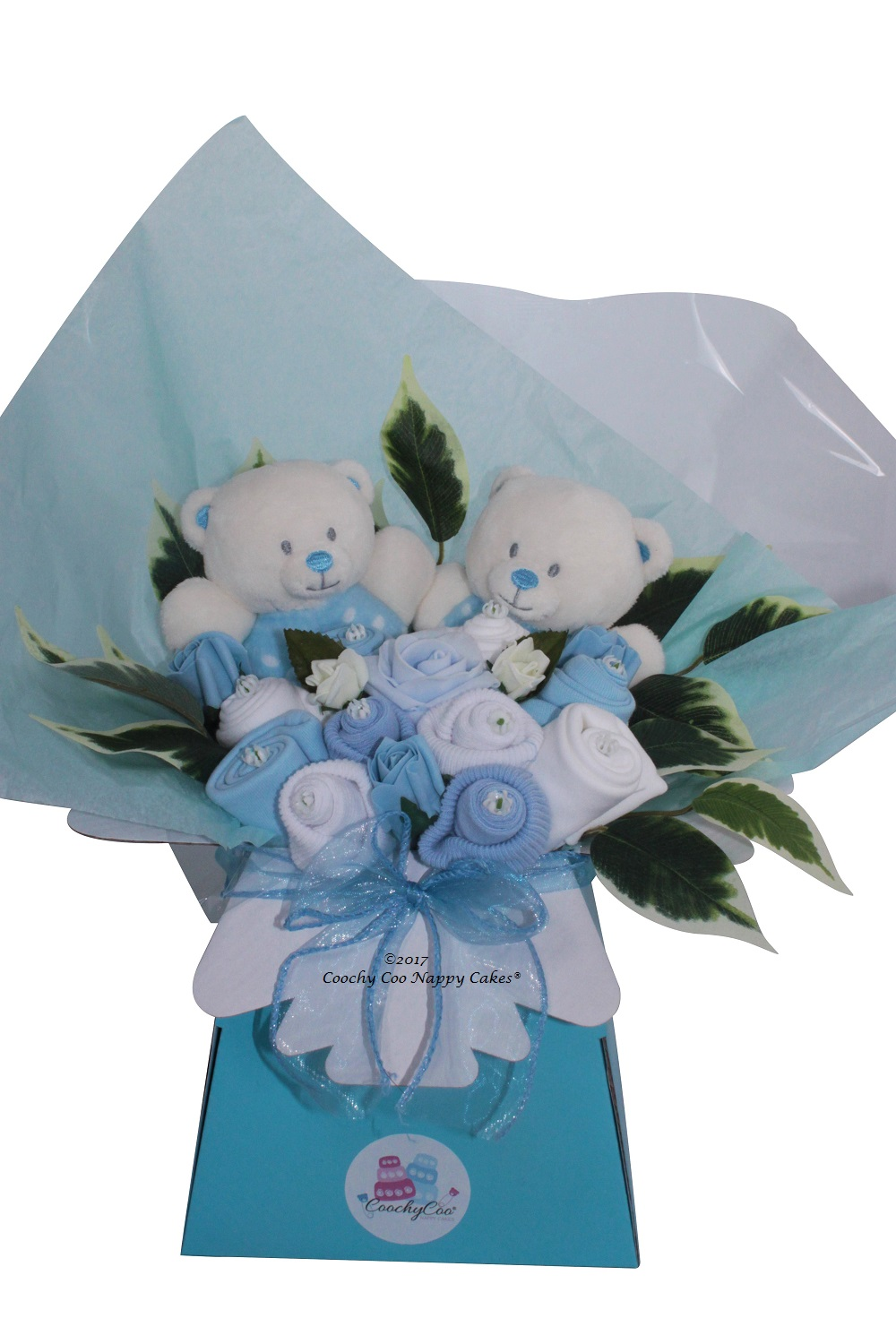 Twin Baby Boy Clothing Bouquet Toys Coochy Coo Nappy Cakes
