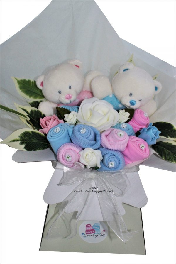 Twin baby boy girl clothes bouquet