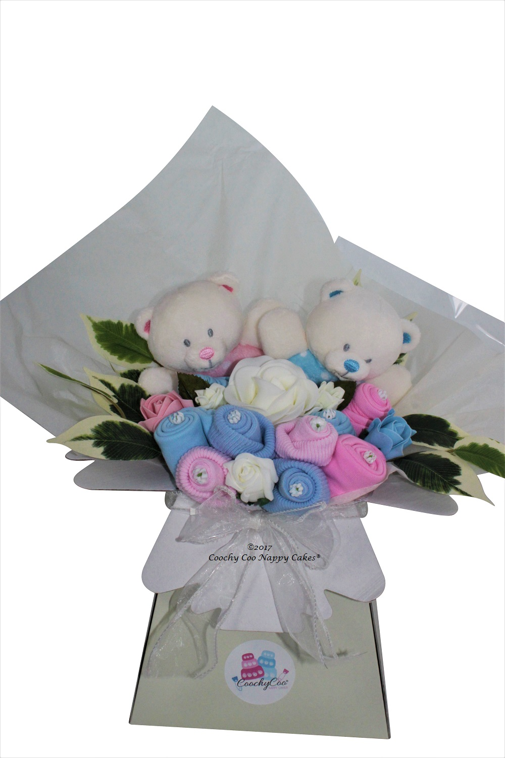 Twin baby boy girl clothes bouquet close up