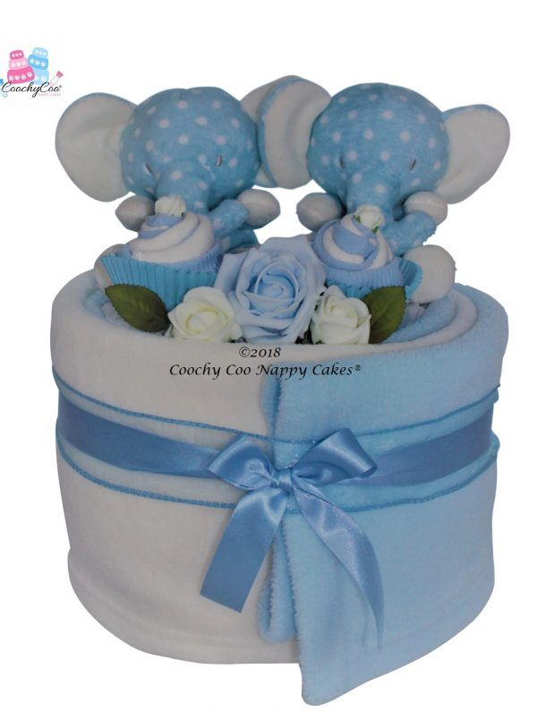 Elephant baby boy twin nappy cake