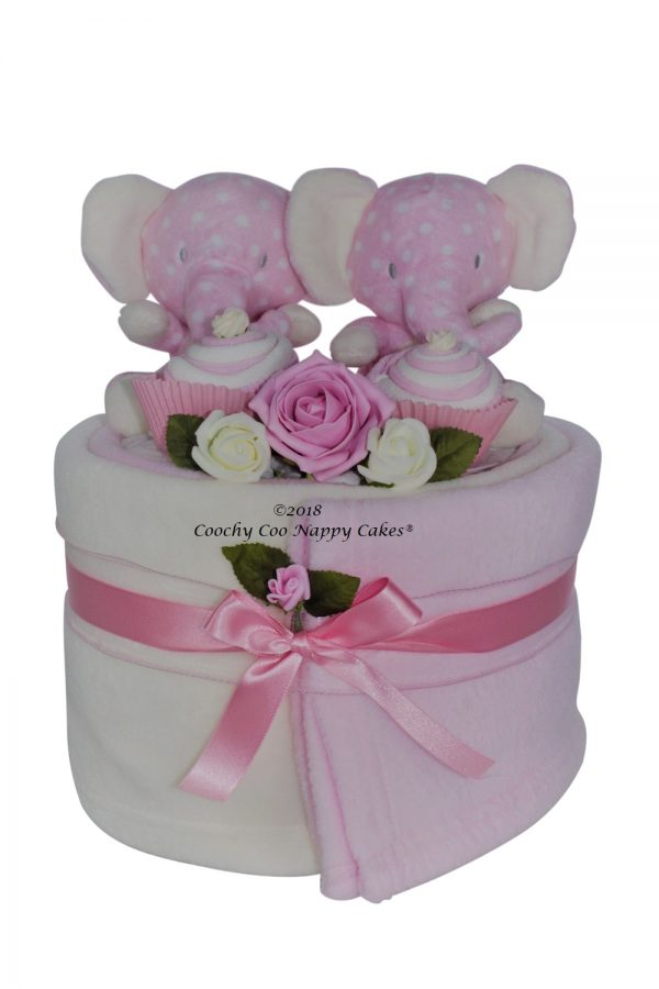 Elephant baby girl twin nappy cake