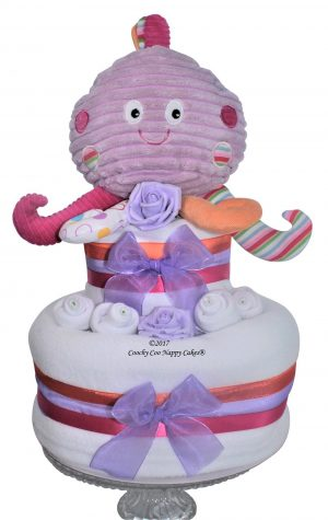 Octopus rainbow baby nappy cake