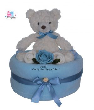 Teddy baby boy large nappy cake Baby Hamper