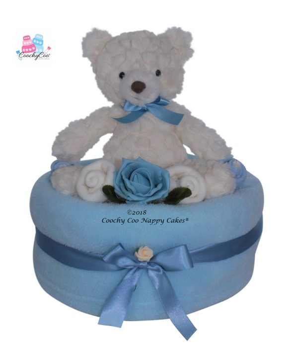Teddy baby boy large nappy cake