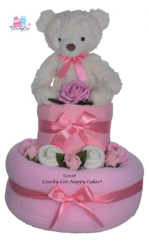 Teddy bear baby Girl 2 tier nappy cake