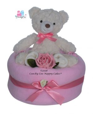 Teddy bear baby girl nappy cake