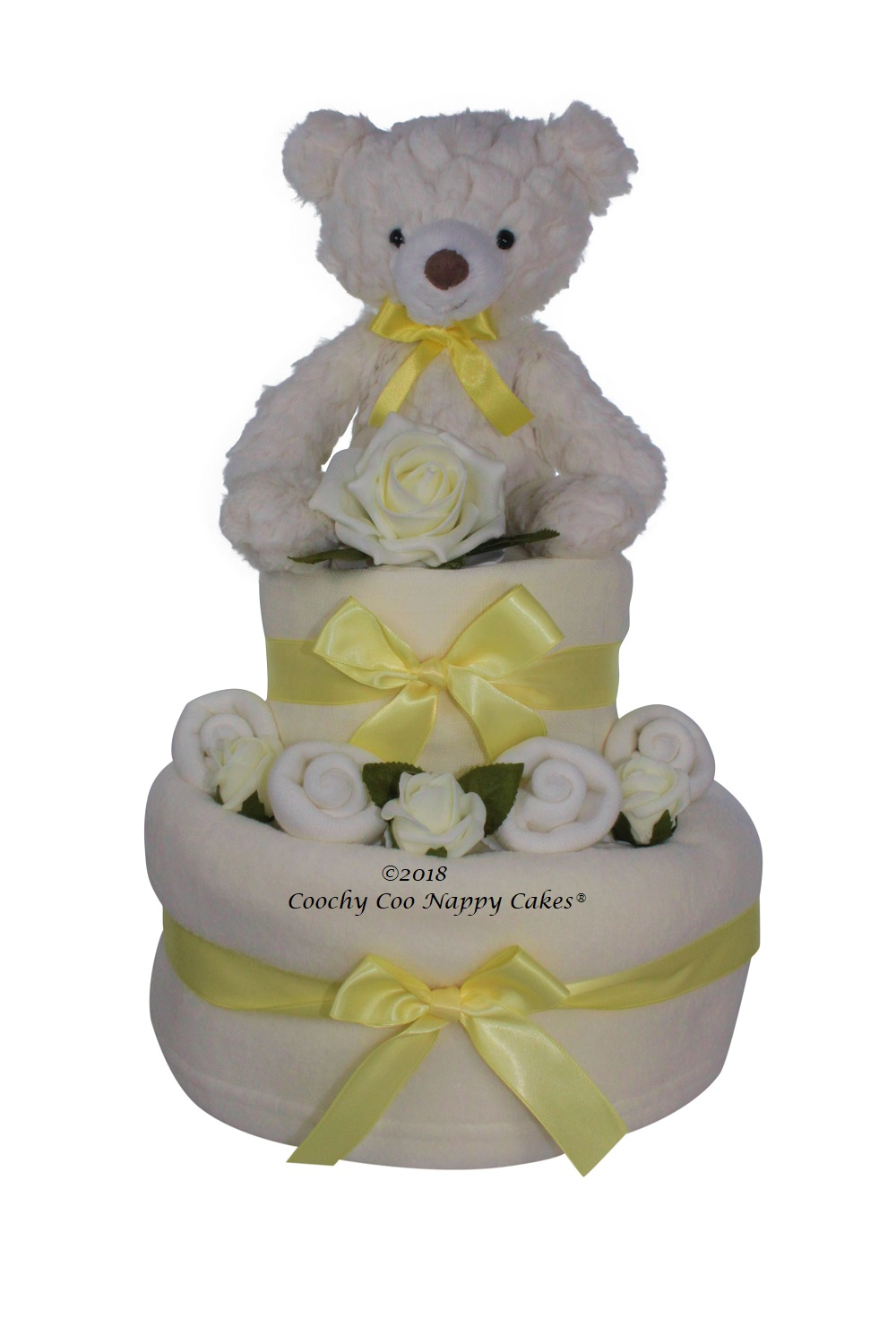 Teddy unisex 2 tier nappy cake