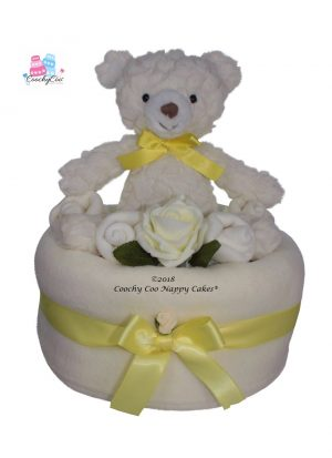 Teddy unisex large nappy cake