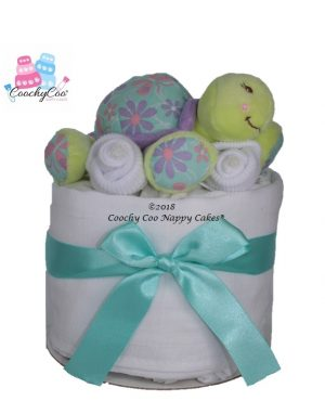 mini turtle baby nappy cake