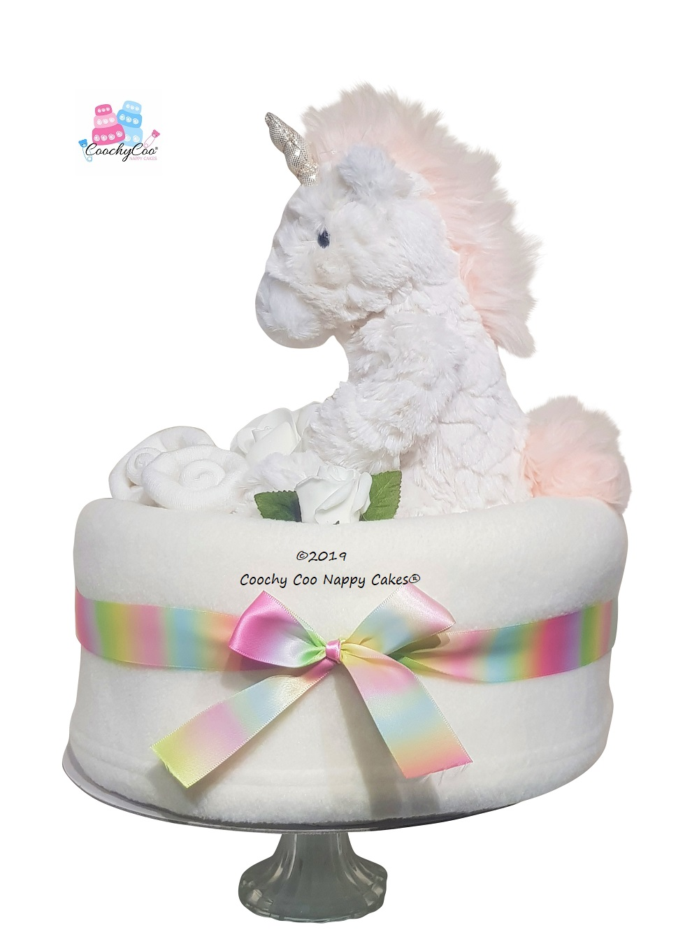 baby unicorn nappy cake