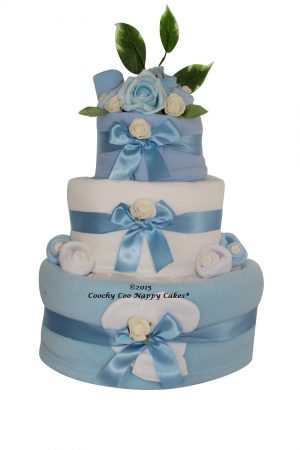 blue baby boys clothes nappy cake