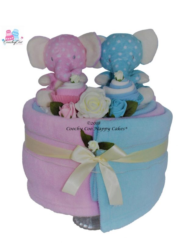 elephant baby boy girl twin nappy cake