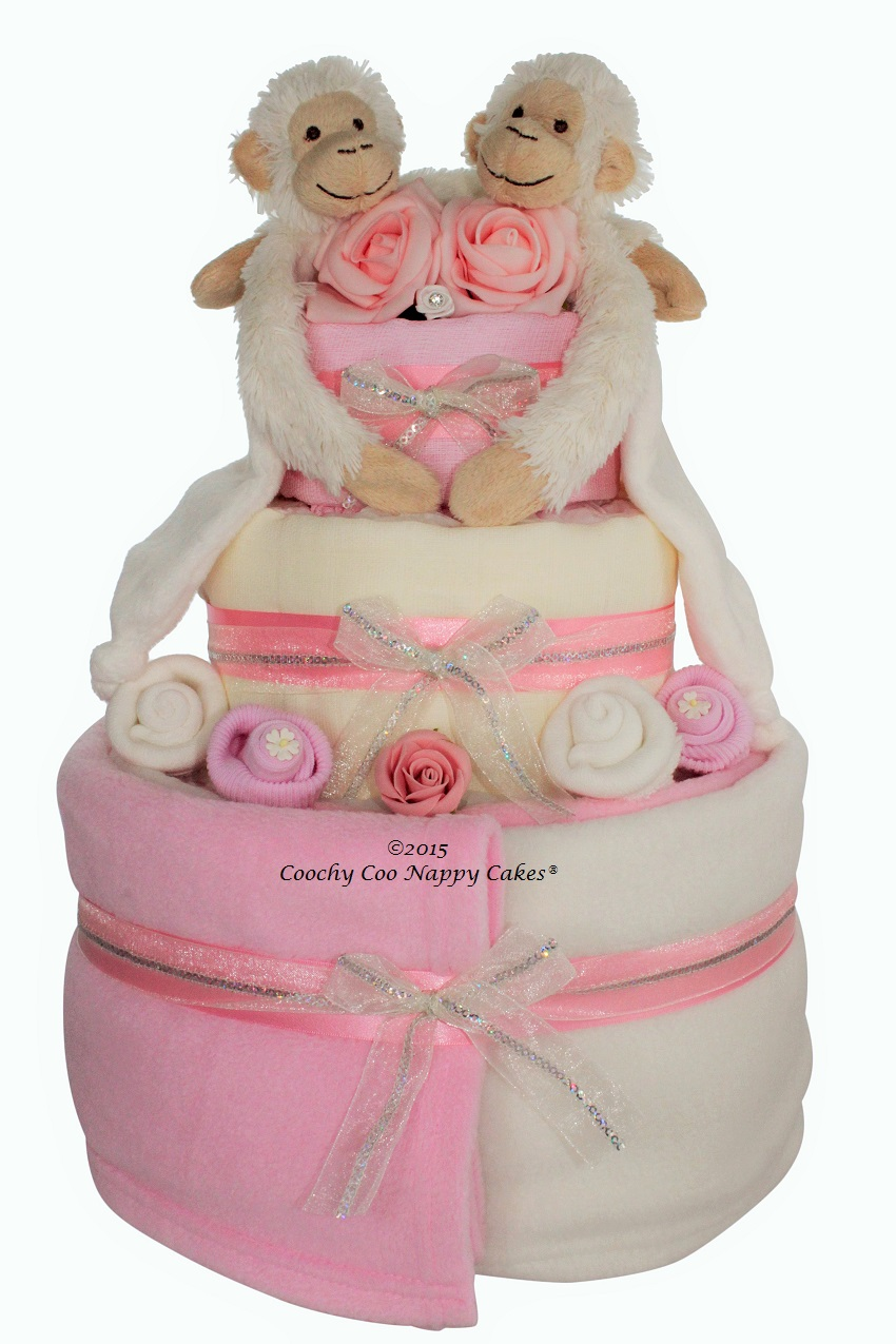 twin girls monkey nappy cake